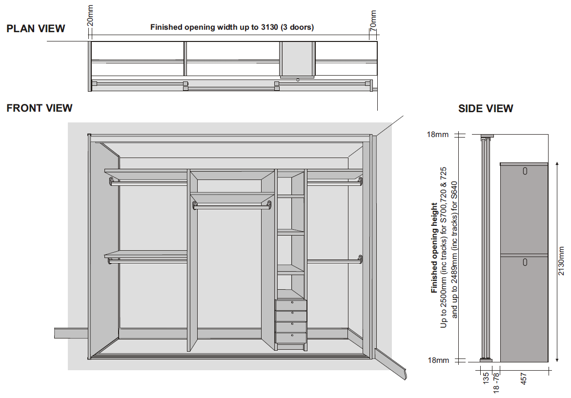 tradtional mfc wardrobe interior technical specifications