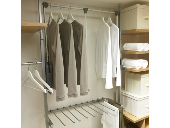 Wardrobe interior kits aura range sliding wardrobe world for Walk in wardrobe kits