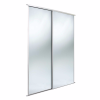 2  x 914mm Wide 'Stanley Design' White Framed Mirror Panel Sliding Wardrobe Doors & Track 180cm