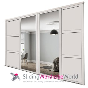 Cashmere Shaker: (2 Mirror 2 Wideline Panel)