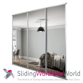 3 White Framed Mirror Doors