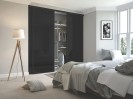 3 x Classic Black Glass Black Framed Sliding Wardrobe Doors (including tracks)