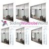 WHITE Frame MIRROR 'Stanley Design' sliding wardrobe door Kits (All Sizes) with/without Interior
