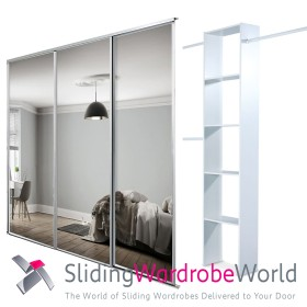 3 White Framed Mirror Doors & Interior
