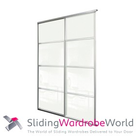 2 Door Arctic White Sliding Wardrobe Door Kit including Tracks