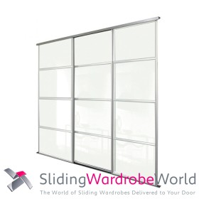 3 Door Arctic White Sliding Wardrobe Door Kit including Tracks