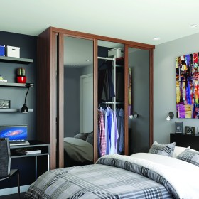 Walnut Frame & Mirror Shaker Sliding Wardrobe Door