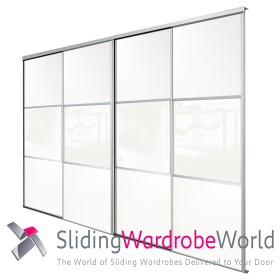 4 White Wideline Sliding Wardrobe Doors