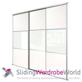 3 White Wideline Sliding Wardrobe Doors