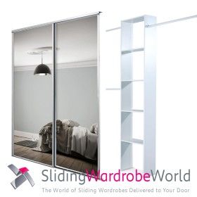2 White Framed Mirror Doors & Interior