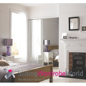 2 White Framed Mirror Doors