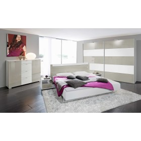 Inline free-standing sliding wardrobe in white melamine and stone grey glass panels.