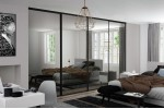 4 x Classic Mirror Black Framed Sliding Wardrobe Doors (including tracks)