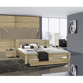 this image shows an oak trends bedrame with bedside chest and trio sliding wardrobe - European Bed Frame