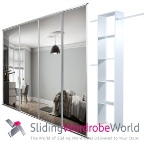 4 White Framed Mirror Doors & Interior