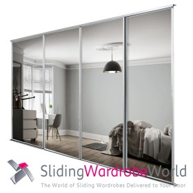 4 White Framed Mirror Doors