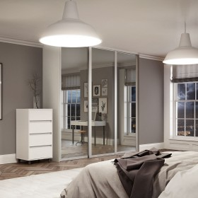 3 White Shaker Mirror Doors Photo