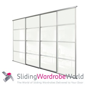 4 Door Arctic White Sliding Wardrobe Door Kit including Tracks