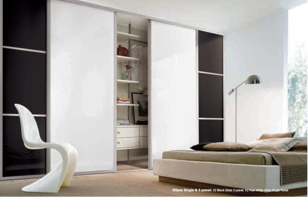 White Glass Sliding Wardrobe doors Ellipse