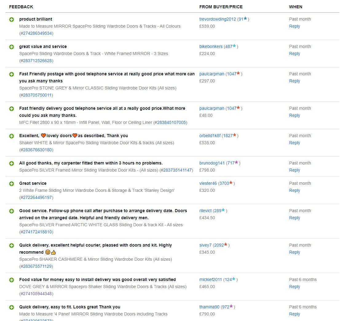 Sliding Wardrobe Door Review on Ebay from Sliding Wardrobe World