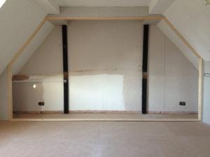 Angled Sliding Wardrobe Door opening in a loft conversion