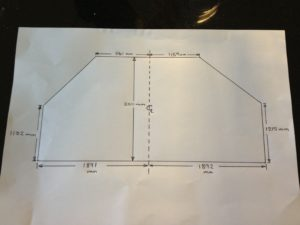 Angled sliding wardrobe opening dimensions from the customer