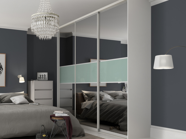 Grey Tinted Mirror & Duck Egg Blue sliding wardrobe doors (Classic Contour )