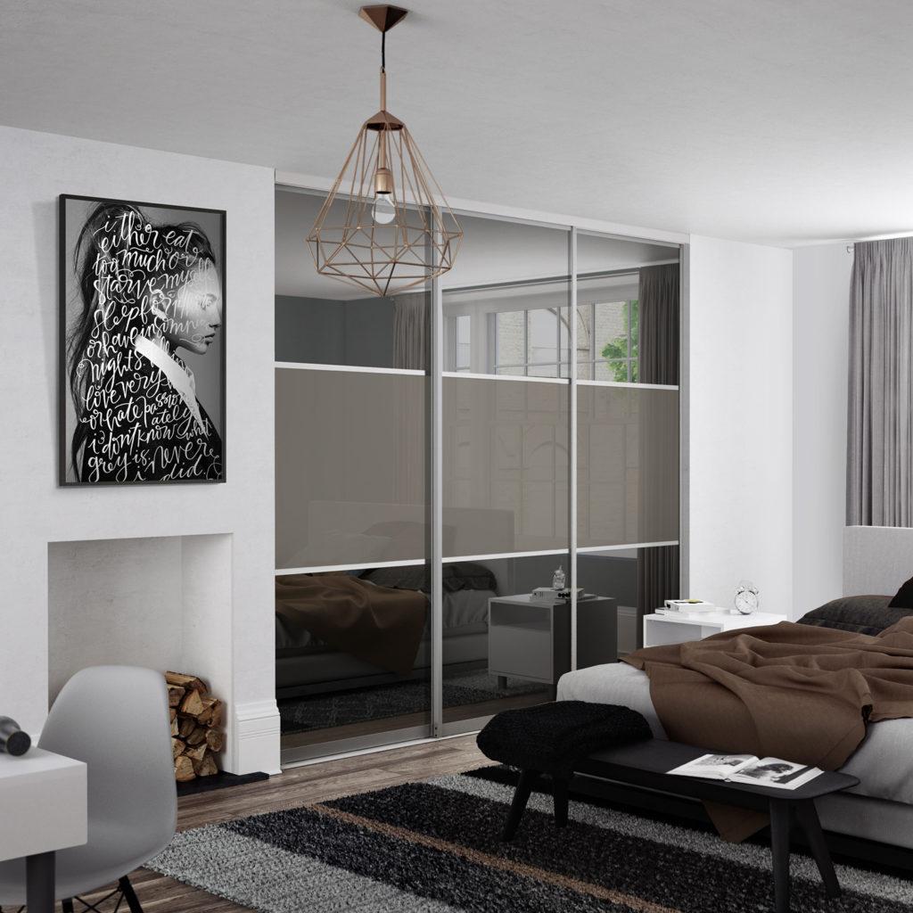Grey Tinted Mirror & Cappucino sliding wardrobe doors (Classic Contour S700)