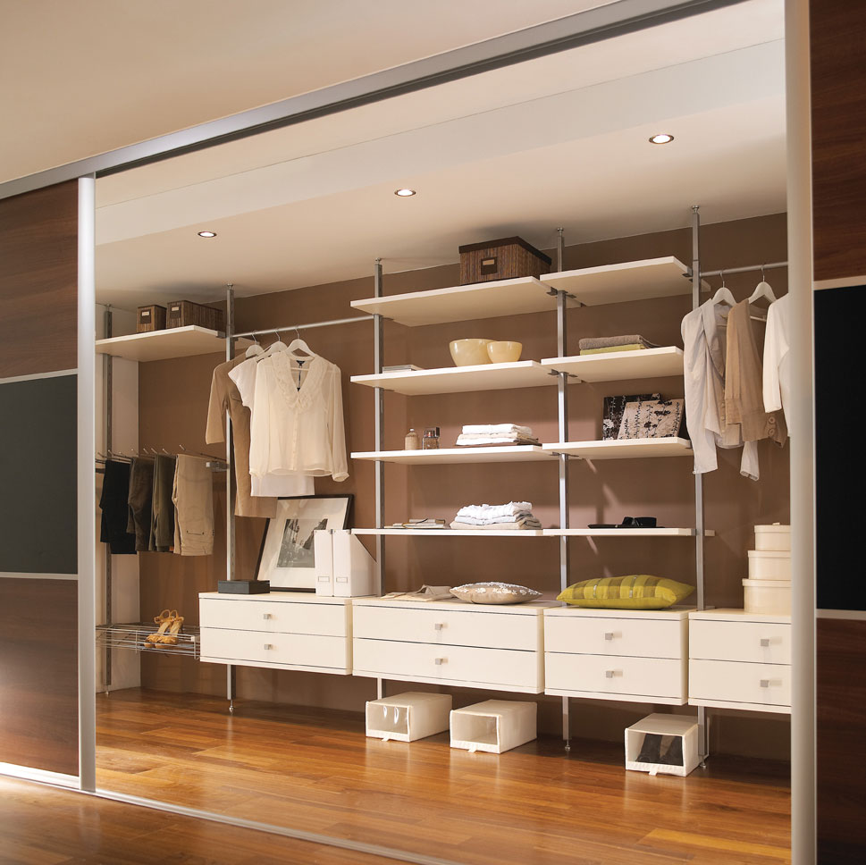 White Aura Wardrobe Interior - Walk in Wardrobe