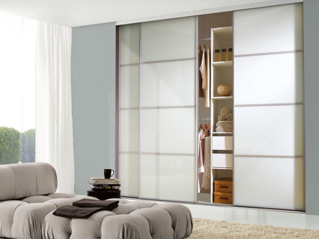 Classic Sliding Wardrobe Silver Frame Matt White - 4 Panel