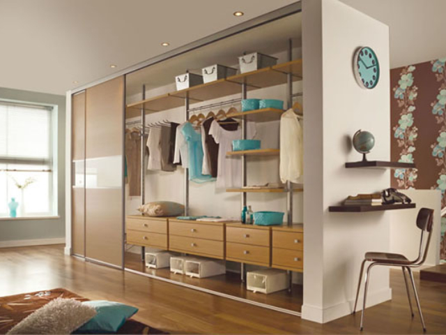 Oak and White Glass 3 Panel Fineline Sliding Wardrobe Doors with Silver Frame & Aura Interior