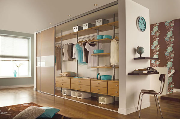 Silver Frame 3 Panel Fineline Oak Glass Oak sliding wardrobe doors