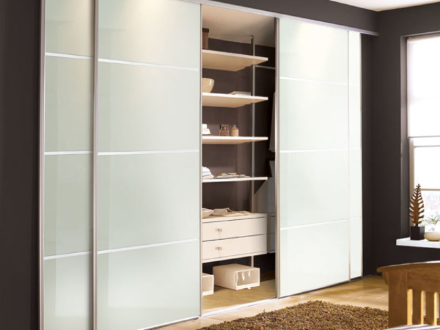 Soft White Glass 4 Panel Sliding Wardrobe Doors