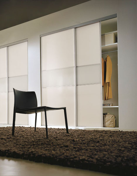 Classic Fineline White Panel and White Glass Sliding Wardrobe Doors