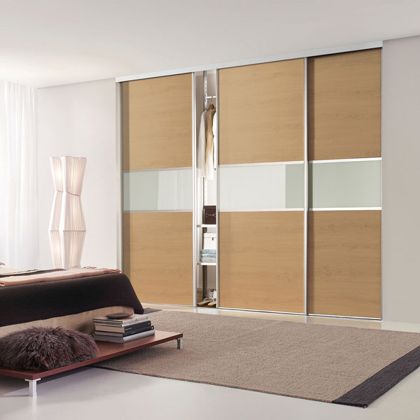 Oak and Mirror Fineline Silver Frame Sliding Wardrobe Doors