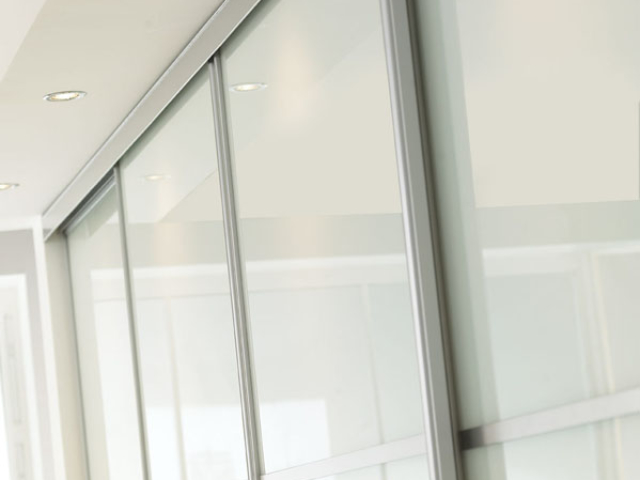 Sliding Wardrobe Silver Frame and White Glass Detail