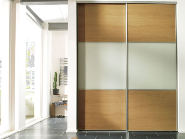 3 Panel Wideline Sliding Wardrobe Oak White Glass Oak - Silver Frame