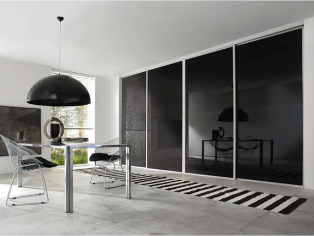 Black Glass Single Panel Sliding Wardrobe Doors - White or Silver Frame