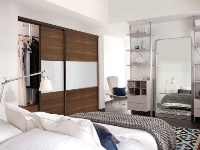 Walnut & White Glass 3 Panel Fineline Sliding Doors & Alume Interior