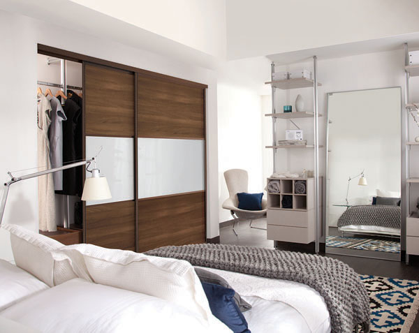 Classic M2M and Standard Sliding Wardrobe Doors Walnut white glass Wideline
