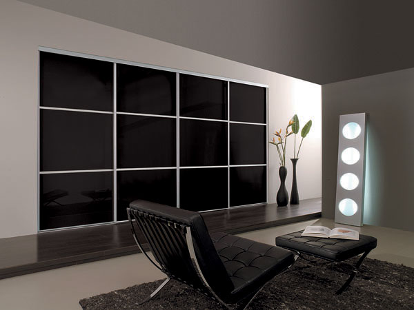 Classic Black Glass 3 Panel Fineline with Silver Frame