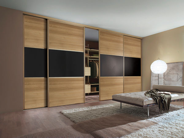 Classic Oak Frame Oak Panel and Black Glass Sliding Wardrobe Doors