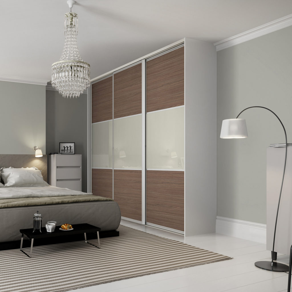 Maxima Sliding Wardrobe Doors - Ontario Walnut Soft White Glass