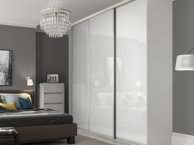 Made to Measure Sliding Wardrobe Doors in Pure White with Silver frame