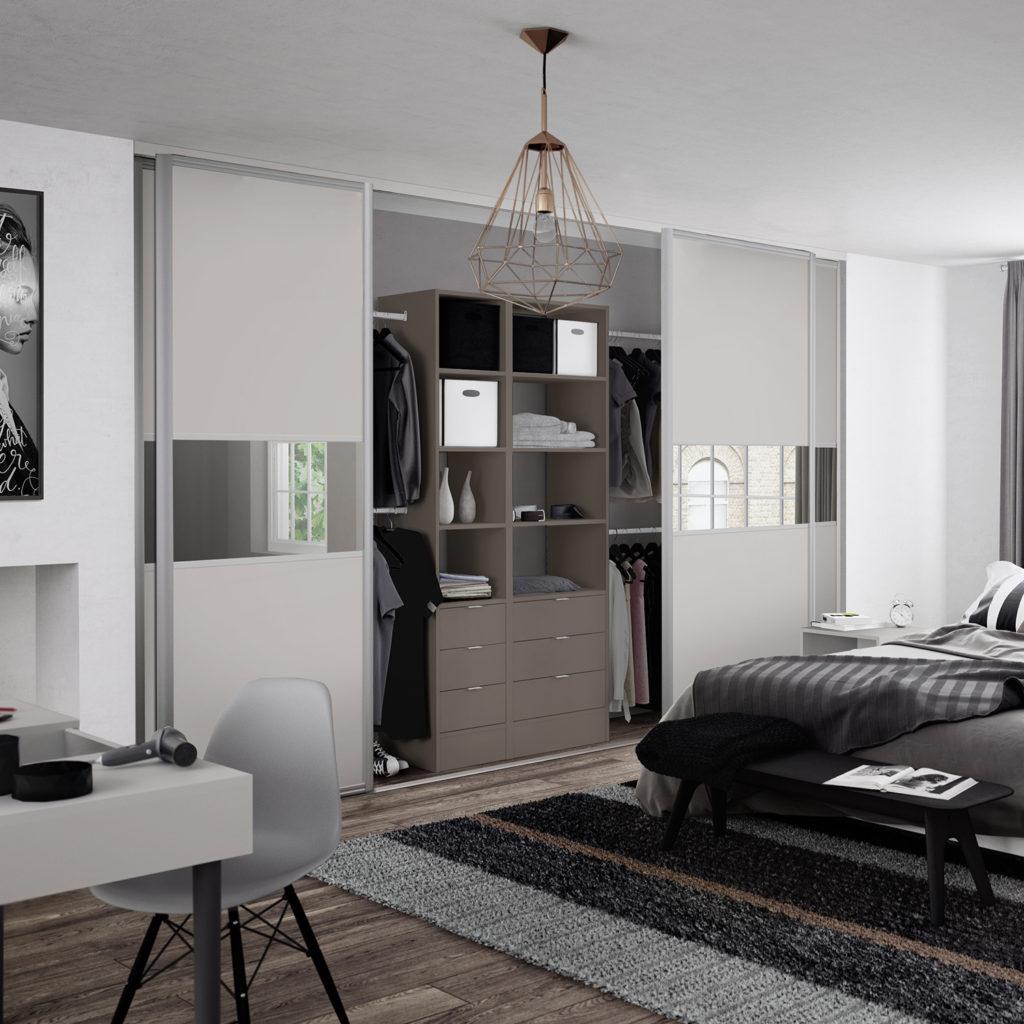 Maxima Sliding Wardrobe Doors - Cashmere Grey Mirror Cashmere