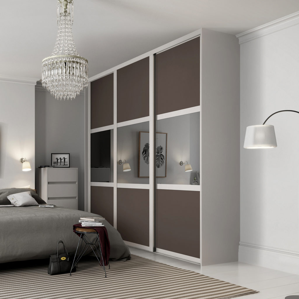 Shaker 3 Panel Cashmere Frame with Grey Tinted Mirror and Stone Grey Panel