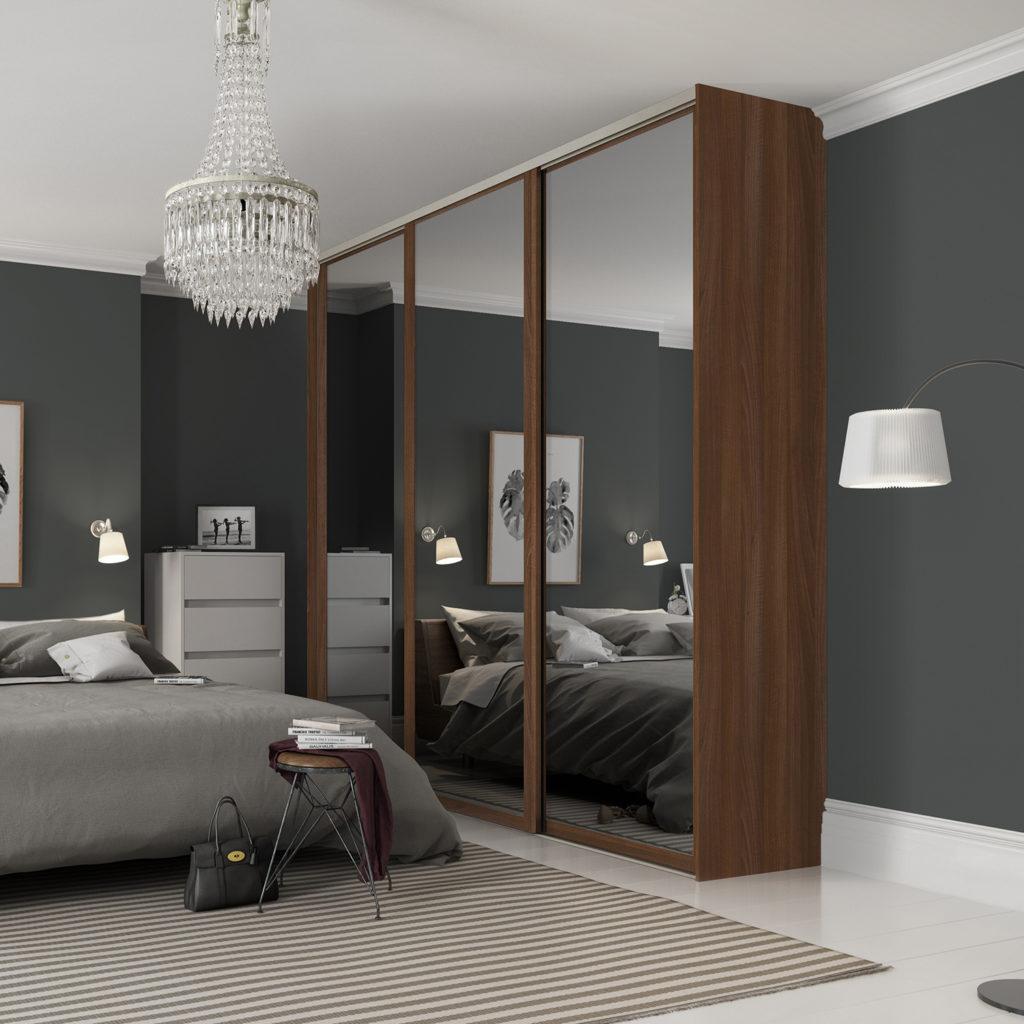 Shaker Walnut Framed with Mirror Sliding Wardrobe Doors