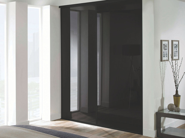 2 Black Glass and Black Framed Sliding Wardrobe Doors (Classic, Contour, S700)