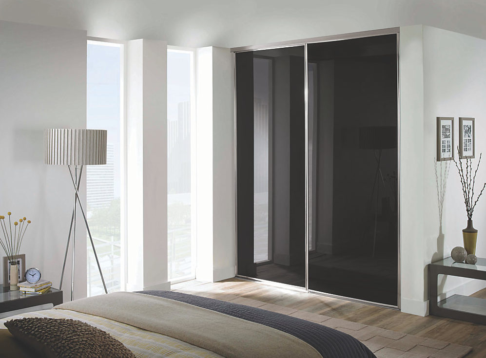 2 Black Glass and Silver Framed Sliding Wardrobe Doors (Classic, Contour, S700)