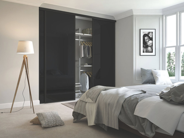 3 Black Glass and Black Framed Sliding Wardrobe Doors (Classic, Contour, S700)